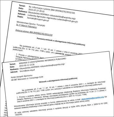 """Dokumenty uzyskane w ramach programu """"obywatelska WSPINKA"""""""